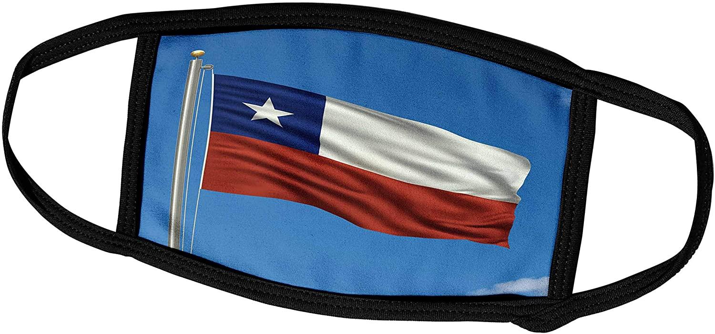 3dRose Carsten Reisinger Illustrations - Flag of Chile on a Flag Pole with Blue Sky Chilean - Face Masks (fm_157043_1)