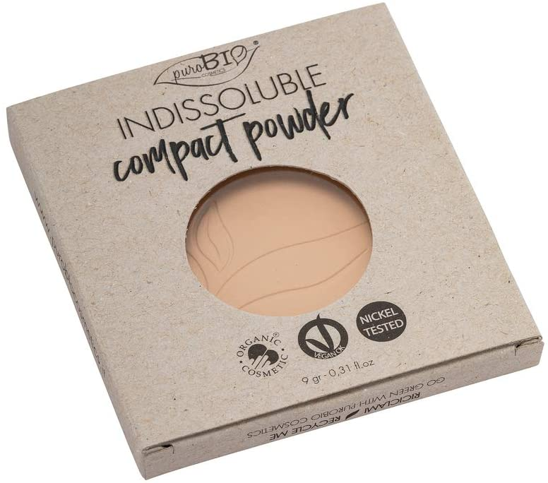 PuroBIO Certified Organic Refill Indissolubile Face Powder with Anti-Aging & Mattifying Effect 01. Contains Vitamin E, Rice Powder, Shea Butter, Plant Oils. Organic.Vegan. Nickel Tested. Cruelty-Free.