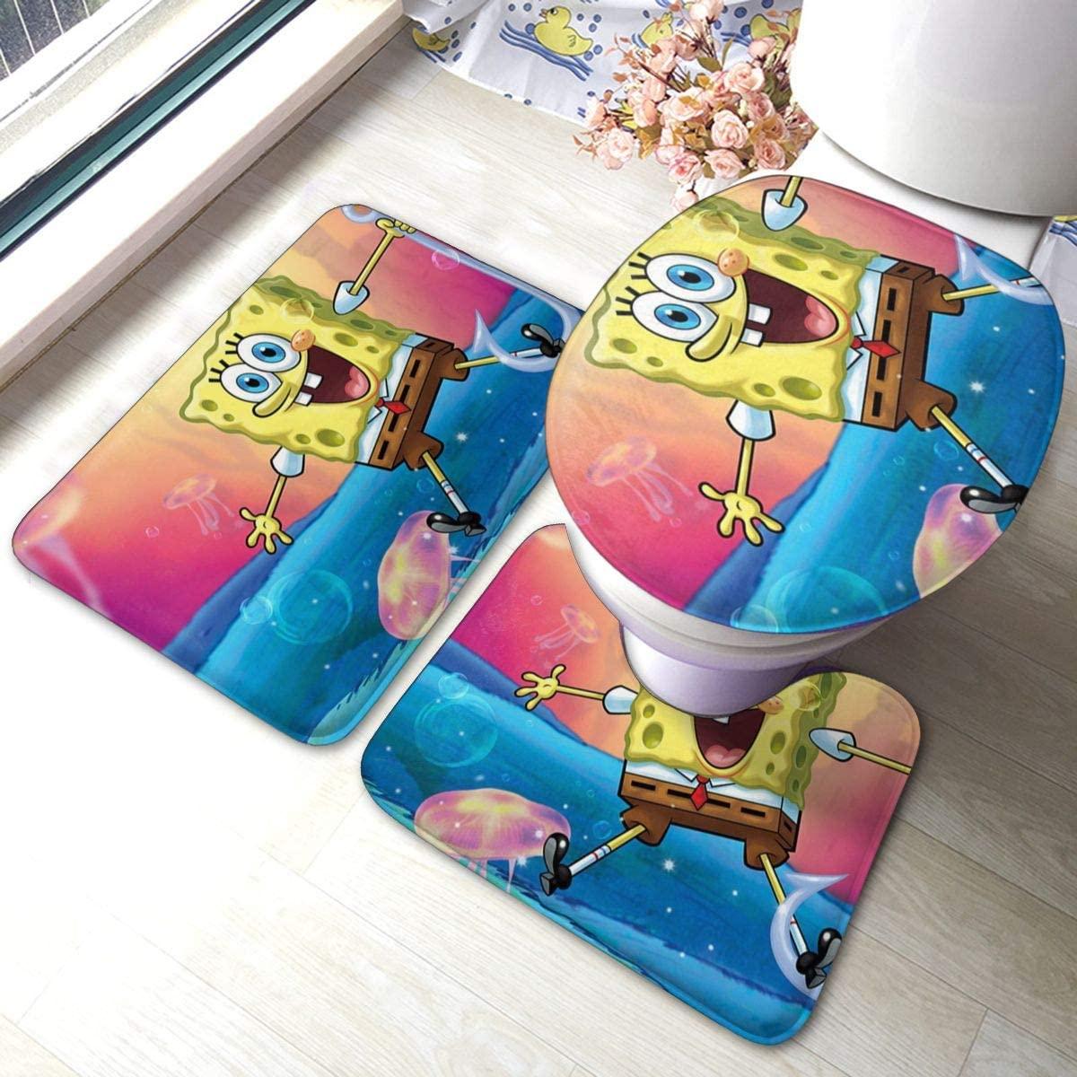 Tticus Cromwell 3 Piece Non-Slip Bathroom Rugs Spongebob Squarepants 353 Bath Doormat Anti-Skid Pads Bath Mat + U Shaped Contour Rug+Toilet Seat Cover
