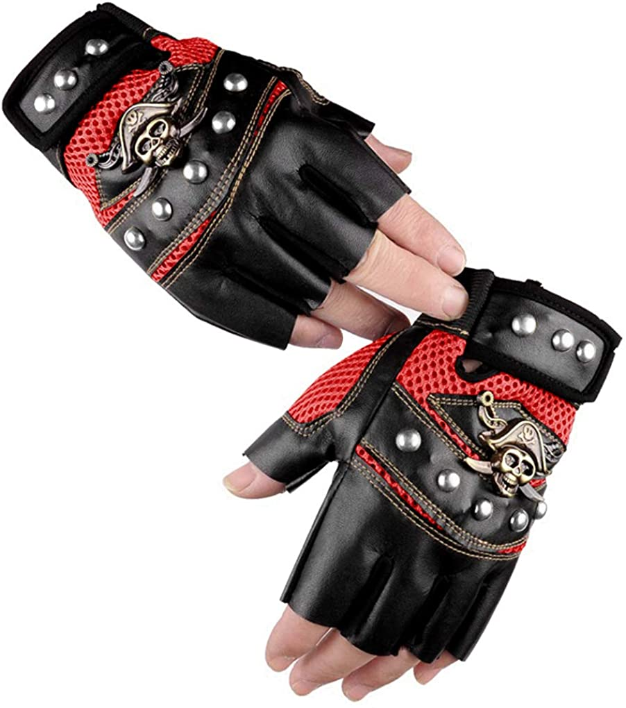 Cool Skull Rivets PU Leather Half Finger Gloves Breathable Mesh Anti-Slip Cycling Riding Driving Motorcycle Biker Gloves Mittens