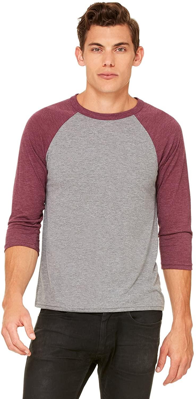 Bella + Canvas Unisex 3/4-Sleeve Baseball T-Shirt (3200) GRY/MAROON TRBLN