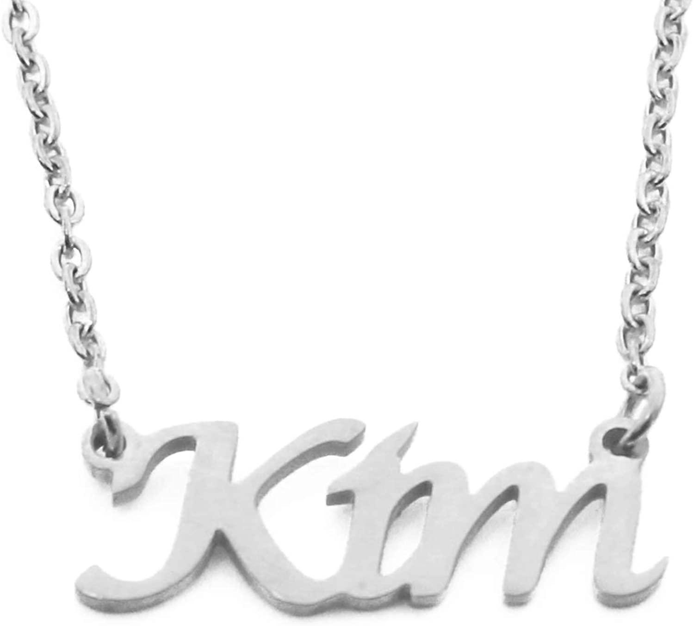 KIM Custom Name Necklace Personalized - Silver Tone