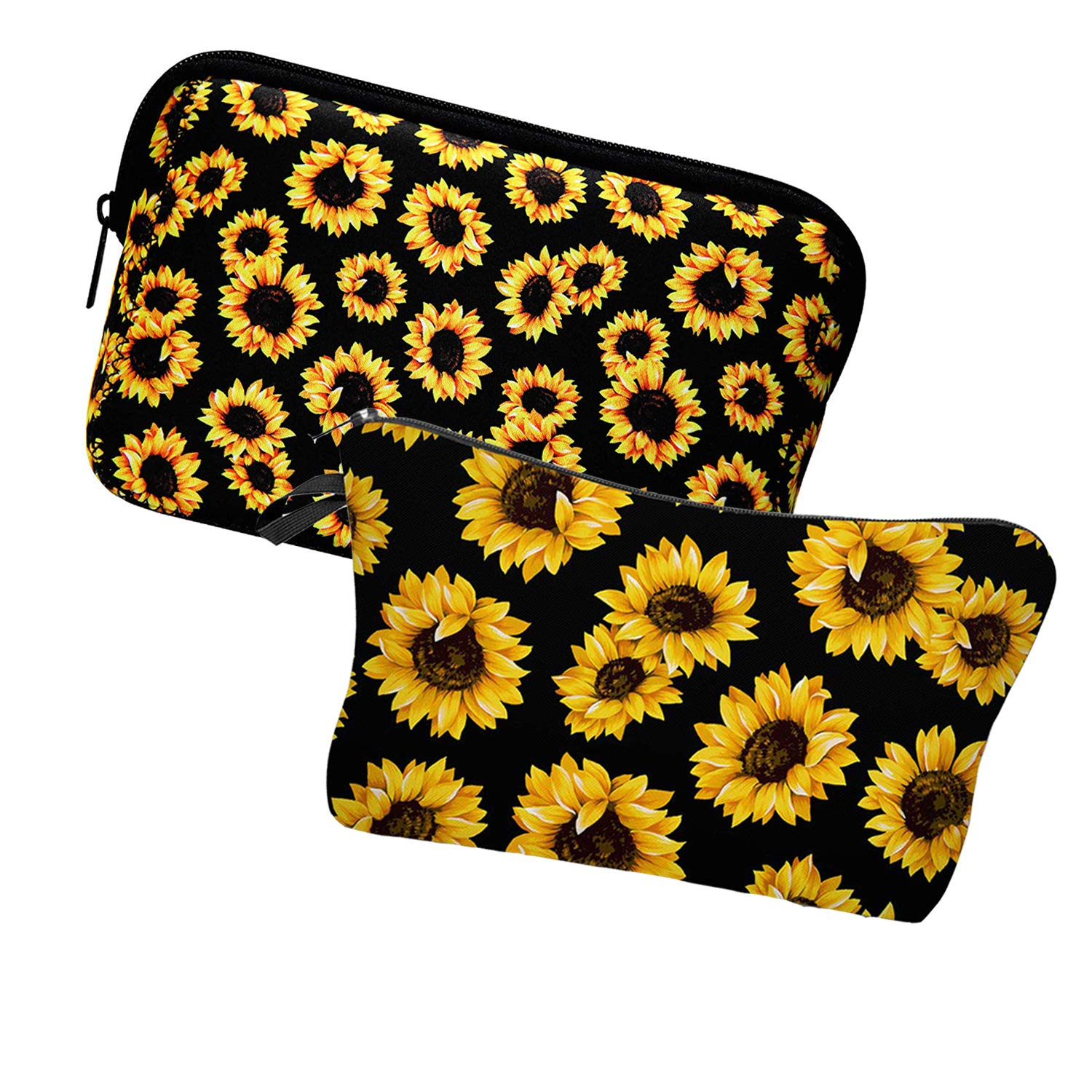 2 Pieces Sunflower Cosmetic Bags for Women,Waterproof, Soft, Zipper Toiletries Makeup bag Pouch Travel Bags,Adorable Roomy Makeup Bags Accessories Organizer Gifts