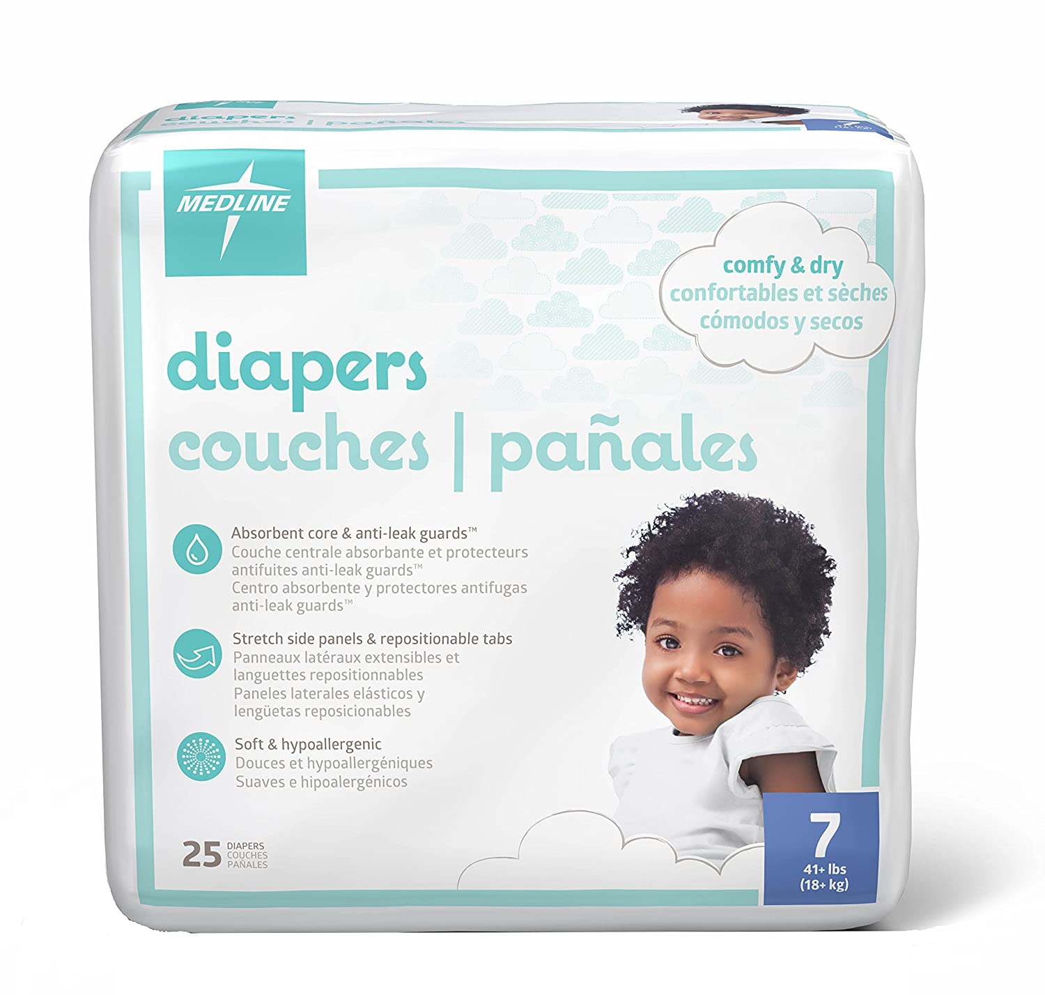 Medline - MBD2007Z MBD2007 Baby Diapers, Size 7, 41+lbs. (Pack of 25)