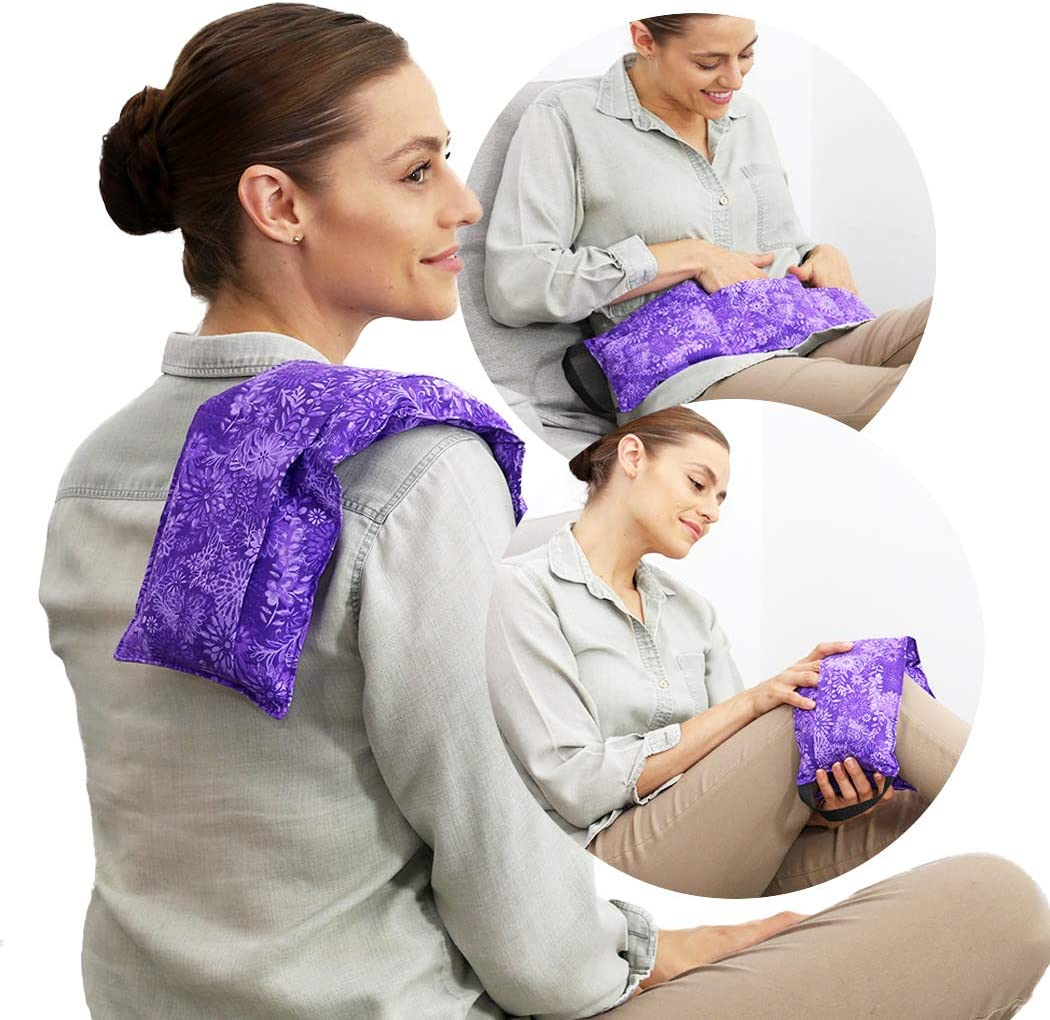 Hot Pockets Microwavable Heating Pads for Back Pain Relief - 3 Pockets Rice Bags for Heat Therapy and Cold Therapy with Washable Cover - American Brand Microwave Heat Packs (Purple Flowers)