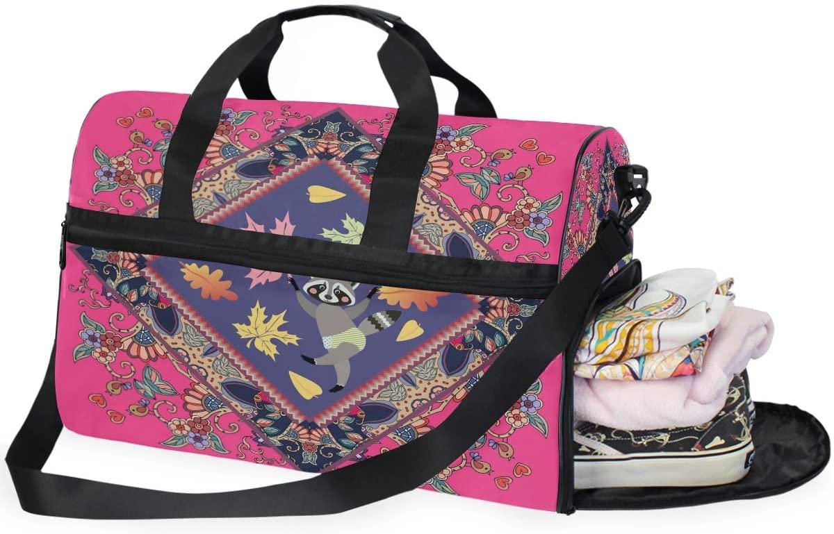 Large Duffle Bag Beautiful Cute Fun Raccoon Hot Pink Gym Bag Sport Duffel Bag for Men Women Traveling