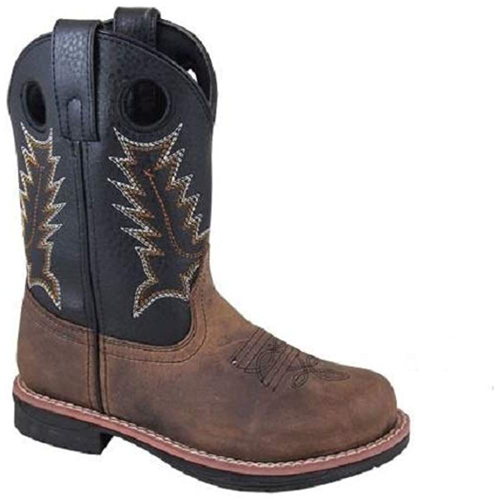 Smoky Mountain Child's Size 2 Black Stitched Shaft Brown Leather Round Toe Cowboy Boots