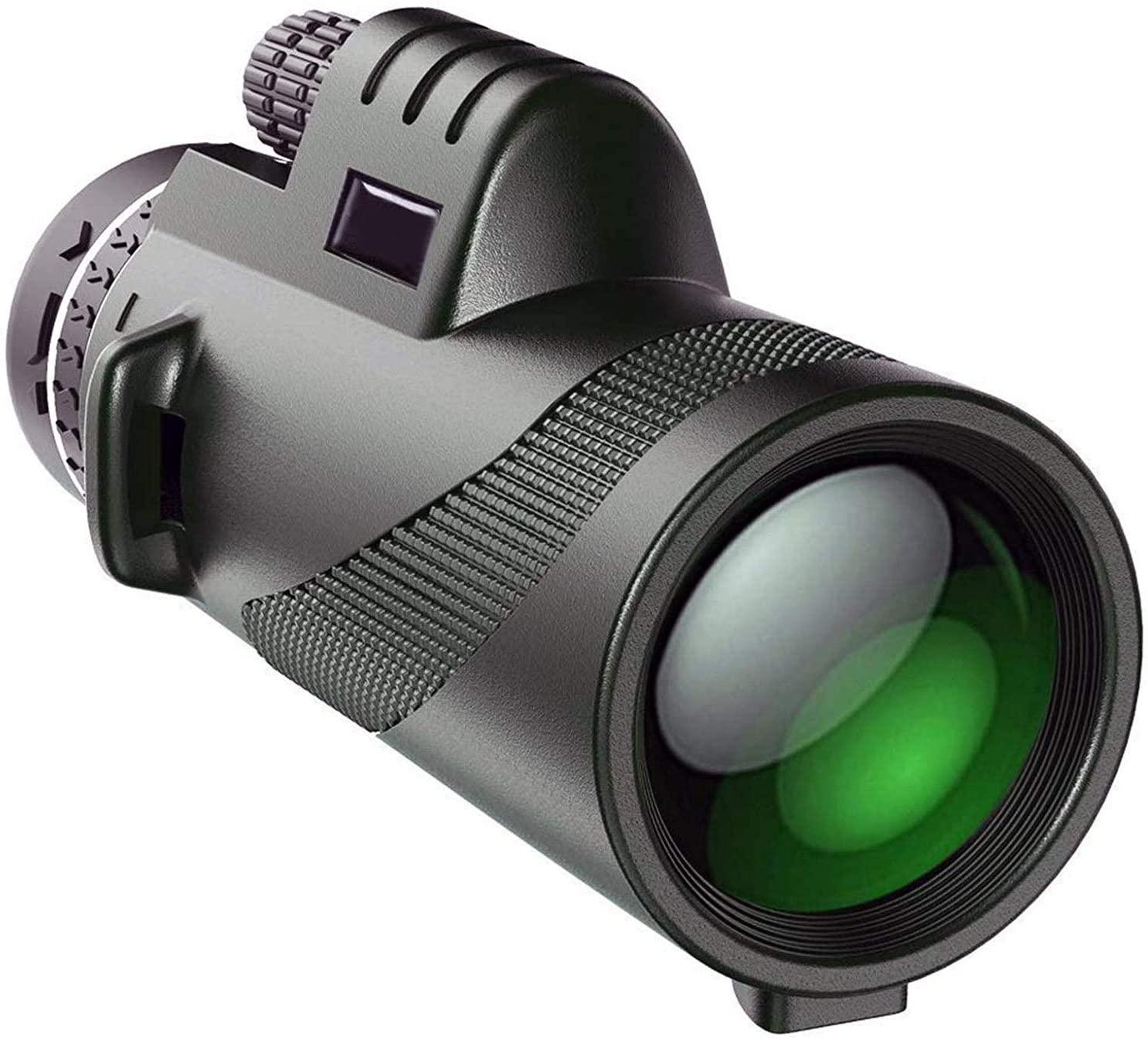Duddy-cam KL-DC-45711-USA Duddy Cam Monocular Telescope - BAK4 Prism 12x50 High Power HD Vision - SingleHand Focus for Bird Watching, Hunting, Camping + 2 Tripods & Lanyard, Black