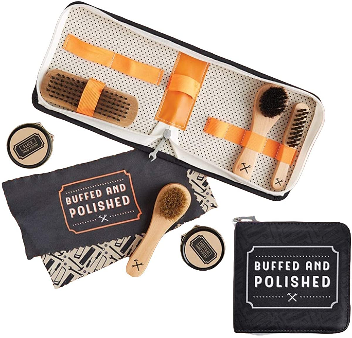 Two's Company Shoe Shine Kit with Case with Shoe Polish Cloth Brushes