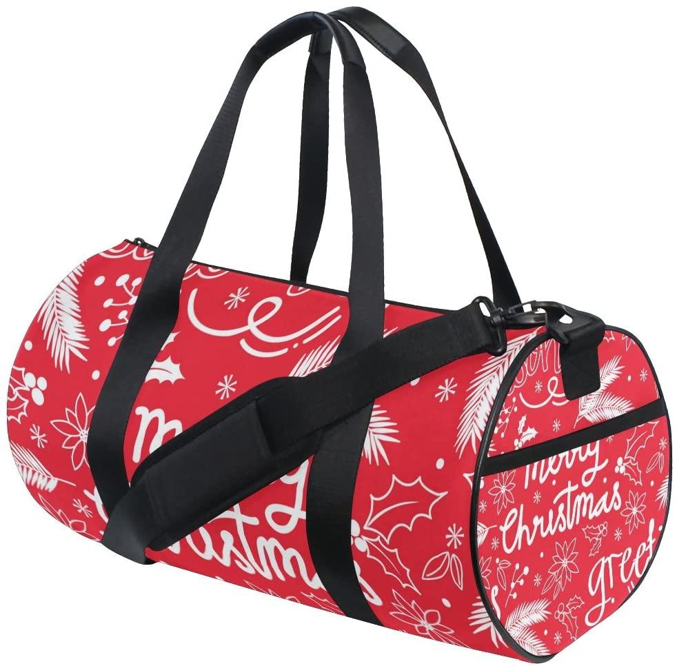 My Little Nest Sports Gym Bag Merry Christmas Red Lightweight Travel Duffel Bag for Women Men