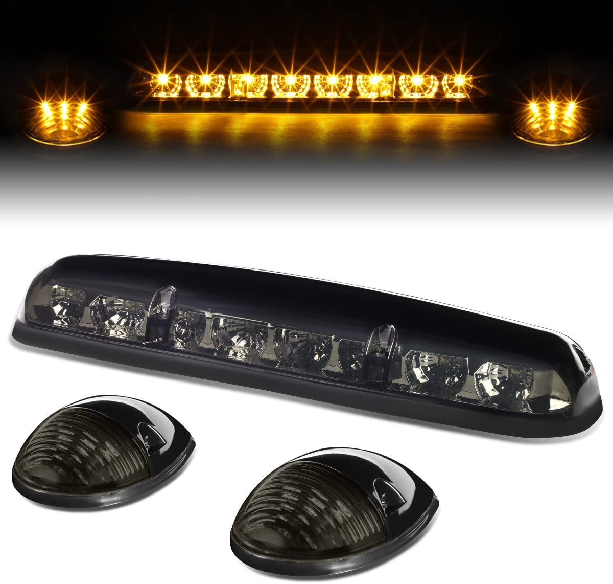 Replacement for 02-07 Silverado Sierra GMT800 LED Cab Roof Top Center Running Light+Pair Side Lamps (Smoked Yellow LED)