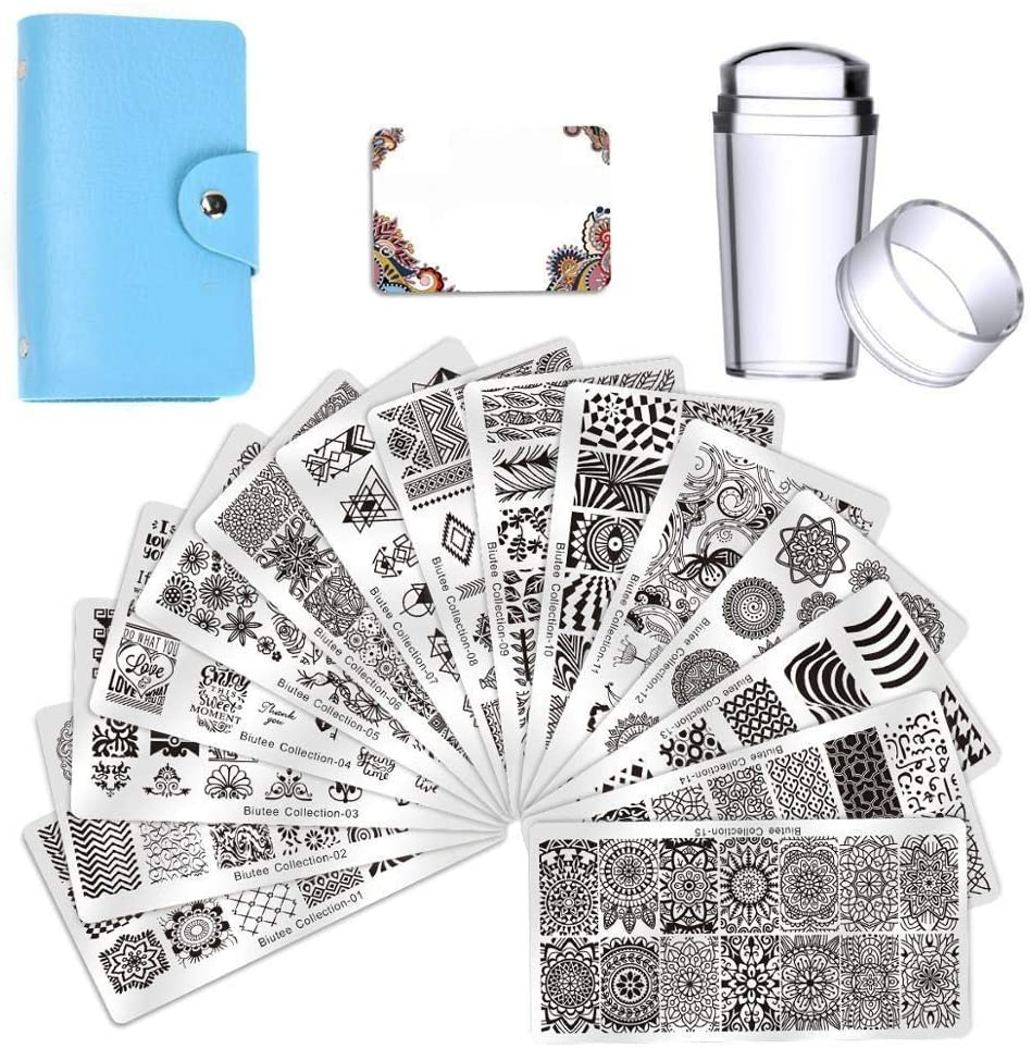 TianriJ Nail Plates Nail Stamping Template Manicure Stamp Stencils 15pcs Nail Art Plates with 1pcs Dual-Head Stamper 2 Scrapers (Color : Set)
