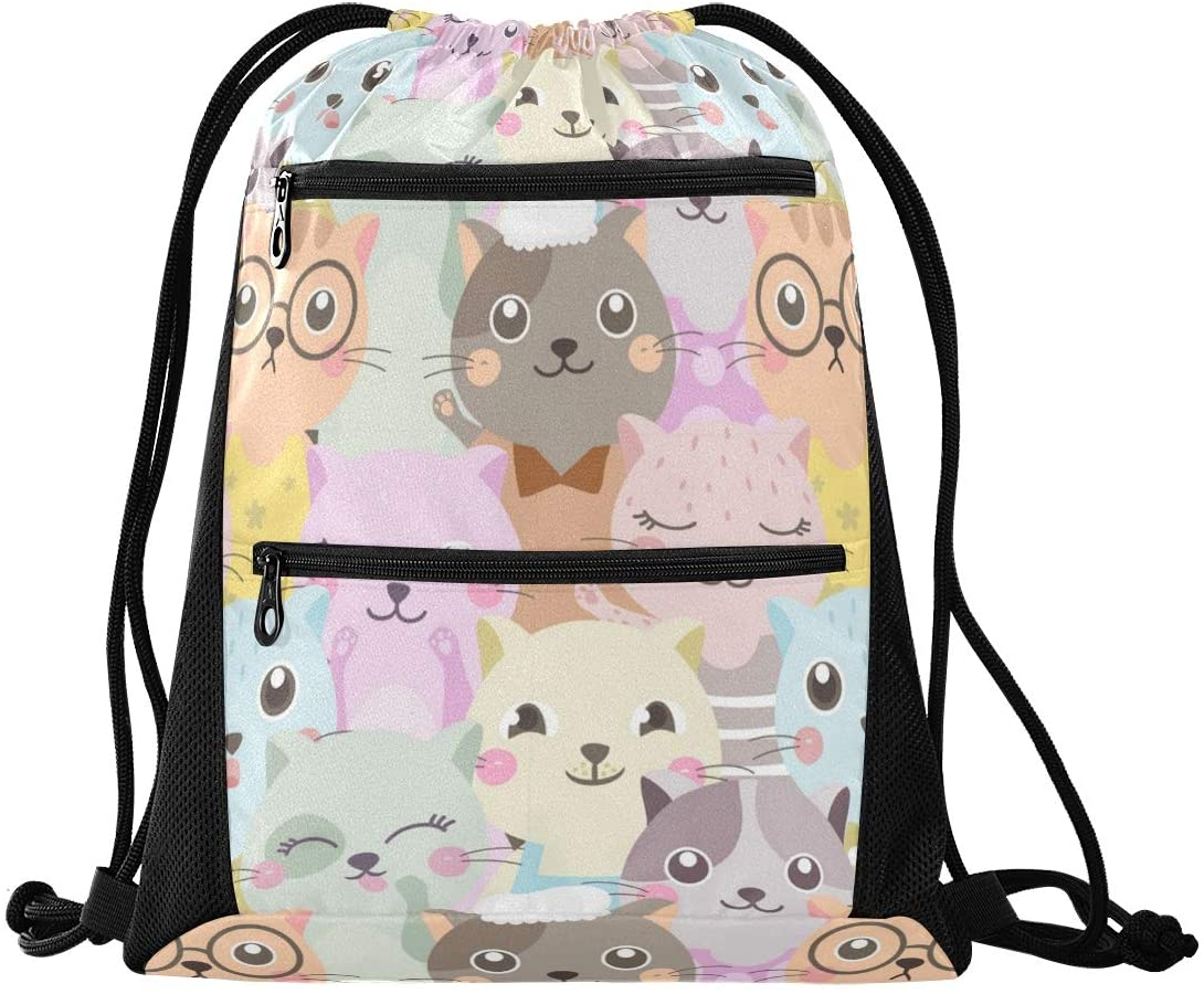 Drawstring Bag Colorful Cat Lightweight Drawstring Backpacks for Gym and Fashion with Zipper Mesh Pockets