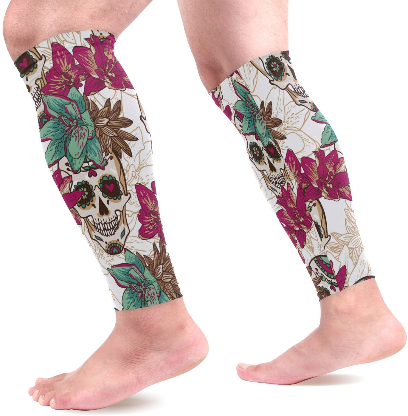 Calf Compression Sleeves Skull Hearts and Flowers Leg Compression Socks for Runners, Shin Splint, Varicose Vein & Calf Pain Relief - Calf Guard for Running, Cycling, Maternity, Nurses Women