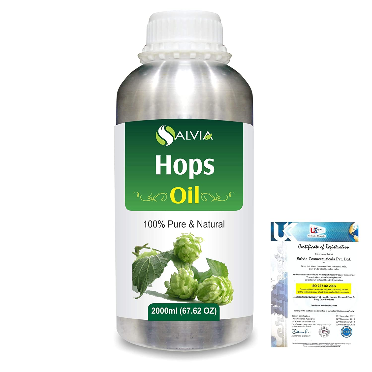 Hops (Humulus Lupulus) Pure Natural Aromatherapy Therapeutic Uncut Undiluted Essential Oil 2000ml/67.6 fl. oz. Express Shipping