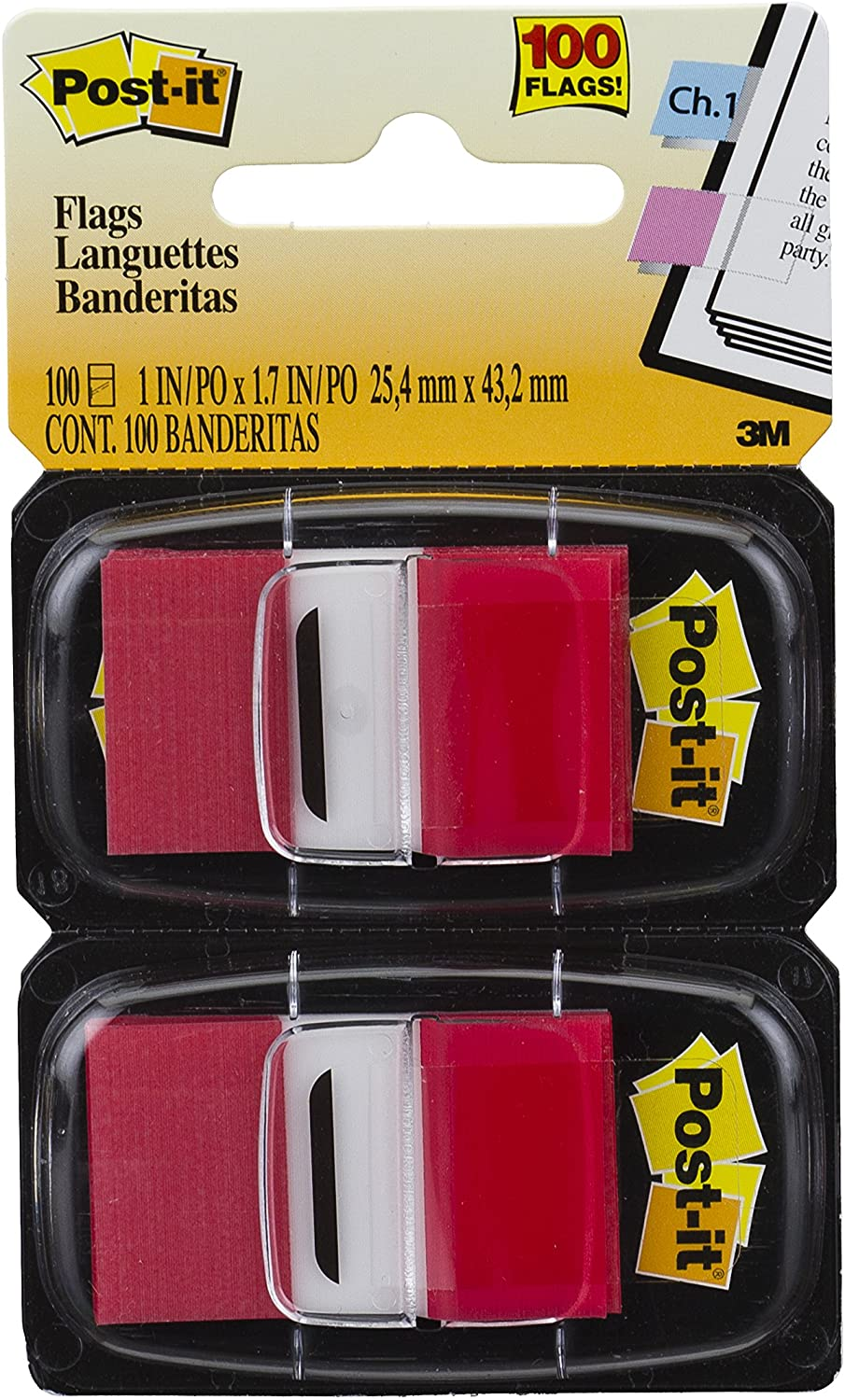 Post-it Standard Page Flags in Dispenser  1in Wide, Red 100 Flags, 680-RD2