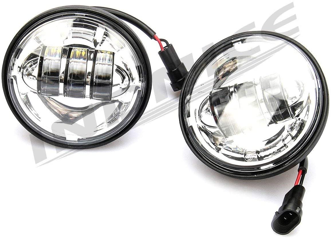 INDNICE 4.5 LED Auxiliary Fog Passing Lights harley touring models fog lamp road king passing light with Housing Bucket For Harley Electra Glide gloss black