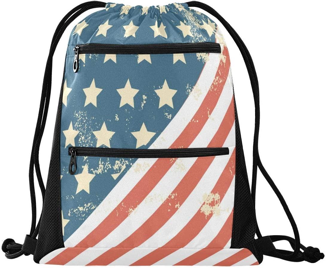 Drawstring Backpack Sport Gym Sackpack - Grunge Style America Flag USA Drawstring Bag with Zipper Pocket Gym Sack Pack Sport Backpack for School Music Festiva