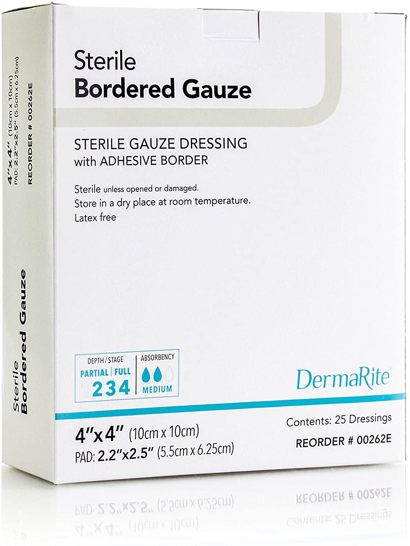 Dermarite Industries Sterile Bordered Gauze Dressing, 0.5 Pound