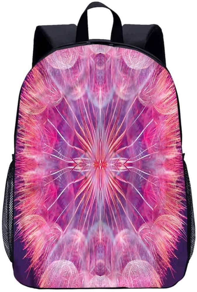 Pastel 17 School Backpack,Close Up Vivid Dandelion Laptop Backpack for Kids
