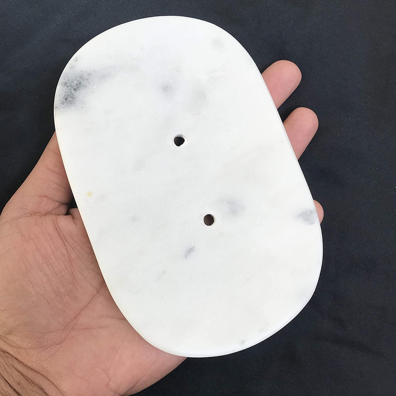 INA KI Natural Marble Oval Soap Dish (for Home, Kitchen, Bath & Spa)