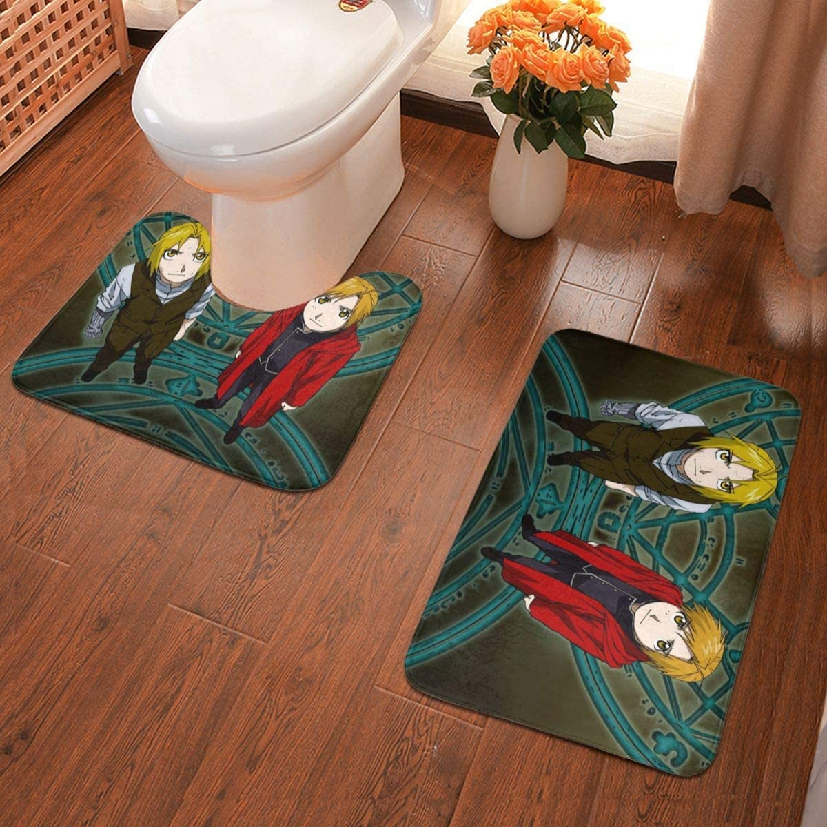 Boweike Fullmetal Alchemist Bathroom Antiskid Pad Non-Slip Bath Carpet Floor Mat Rug 2 Sets -Floor Mat+U-Shaped Pad, Toilet Washable Blanket Mats for Bathroom Home Shower