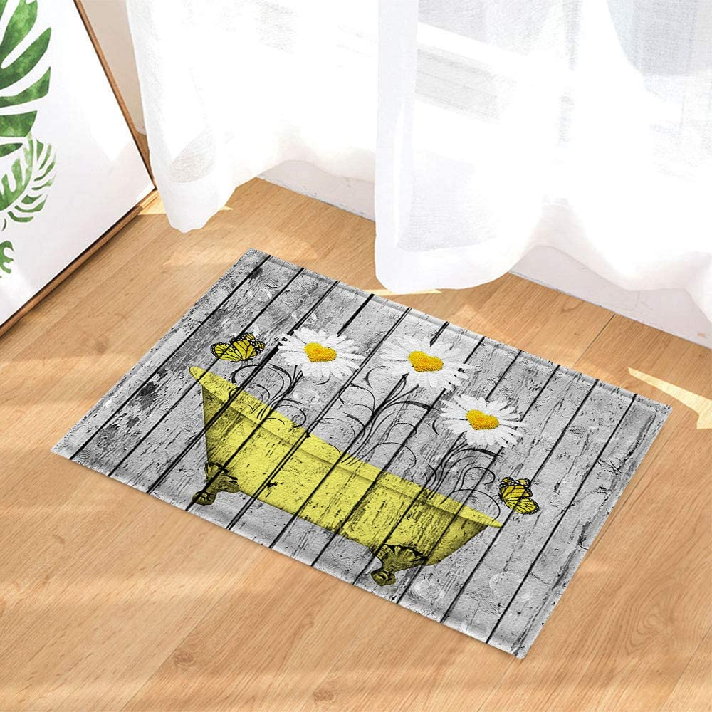 NYMB Farm Sunflower with Butterfly Bath Rugs, Floral Danisy Flower in Yellow Bathtub on Rustic Wooden, Non-Slip Doormat Floor Entryways Door Mat, Kids Bath Mat, 15.7x23.6in, Bathroom Accessories