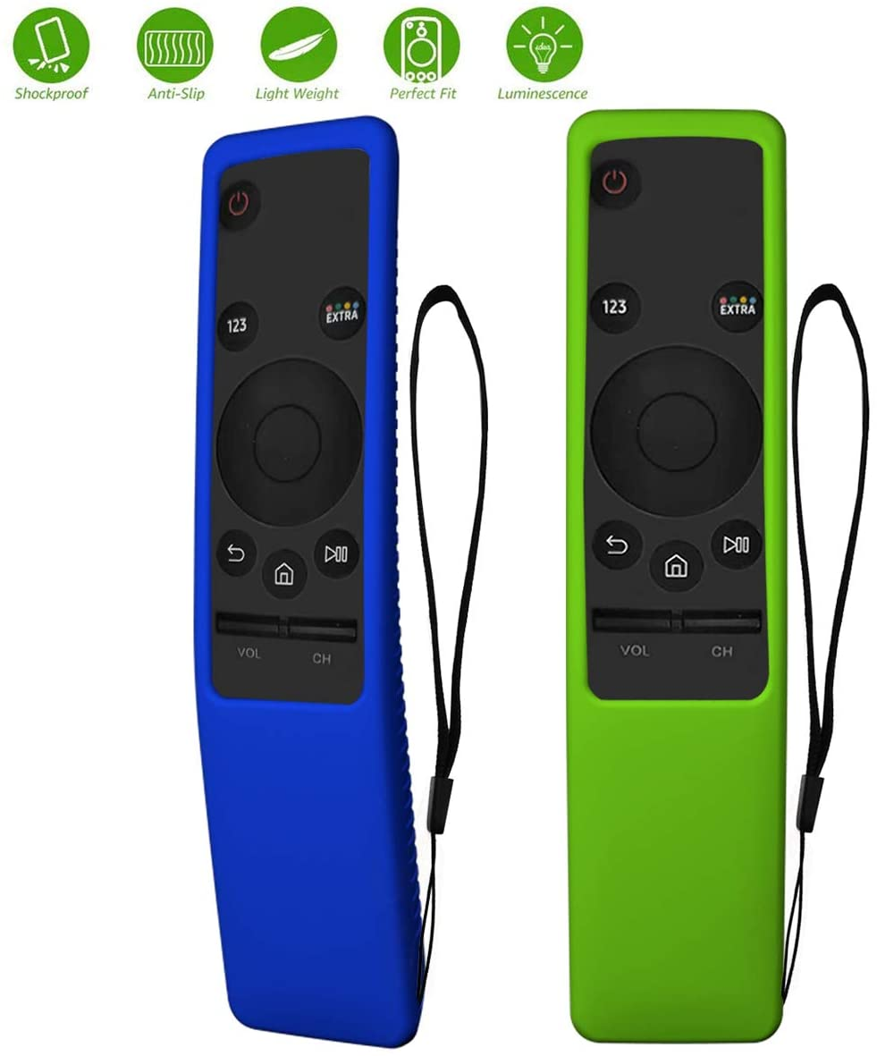 TOLUOHU 2PCS Silicone Protective Case for Samsung Smart TV Remote Controller BN59 Series, Light Weight Kids-Friendly Silicone Cover Anti-Slip Shockproof Anti-Lost with Hand Strap (Blue+Green)