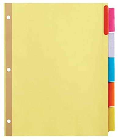 Office Depot Brand Insertable Dividers with Big Tabs, Buff, Assorted Colors, 5-Tab, Pack of 4 Sets