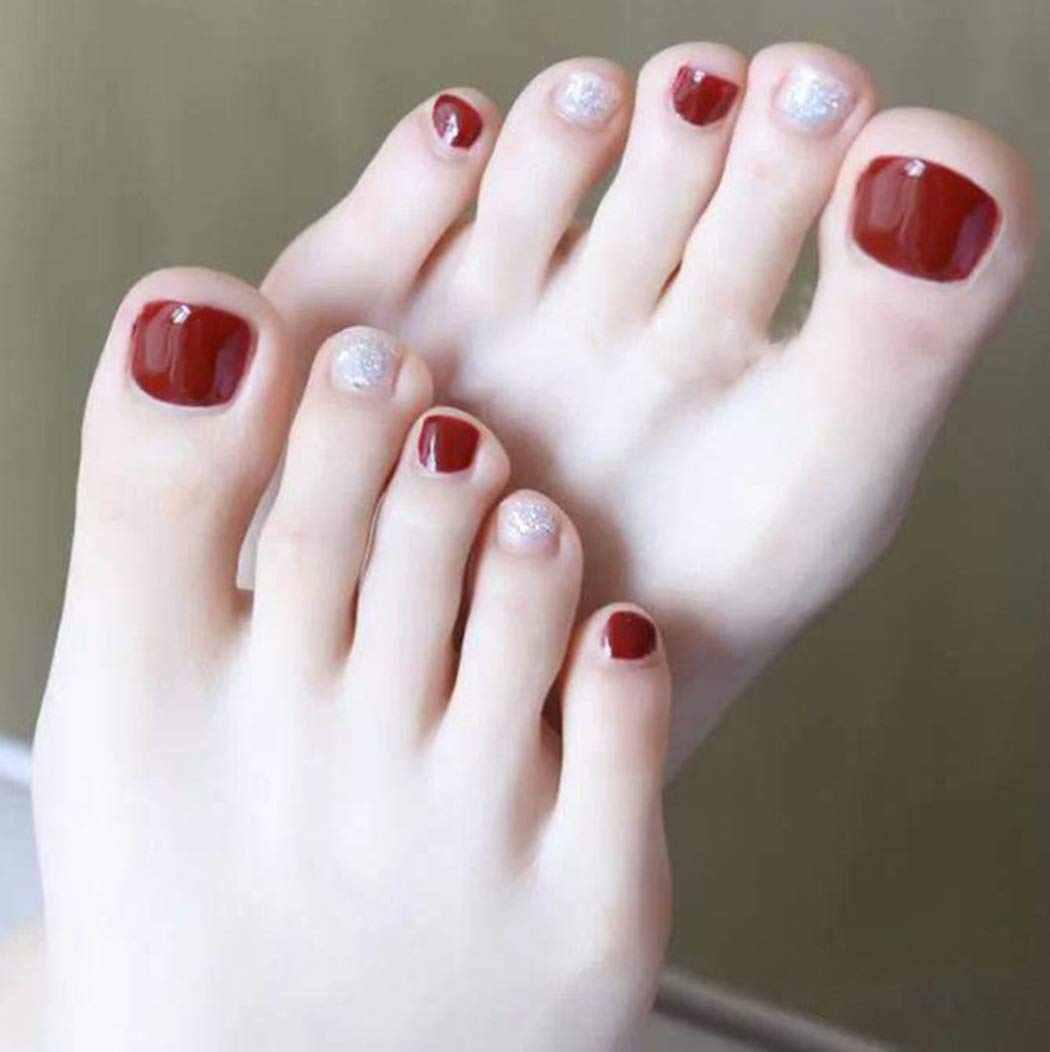 Haloty Red Press on Toe Art Tips Glossy Fake Toenails Full Cover Acrylic Fake Nails for Toes False Nails for Women and Girls 24PCS (Silver Sequins)