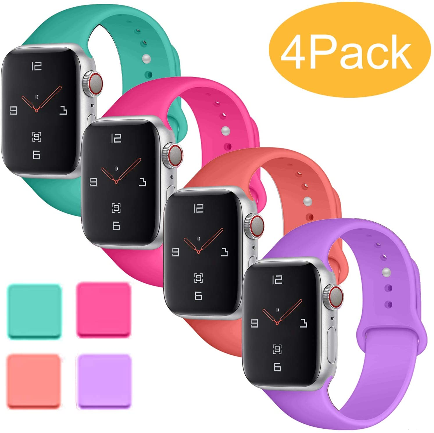 Misker 4 Pack Sport Band Compatible with for Apple Watch Band 38mm 40mm 42mm 44mm, Soft Silicone Sport Strap Compatible with iWatch Series 5 4 3 2 1