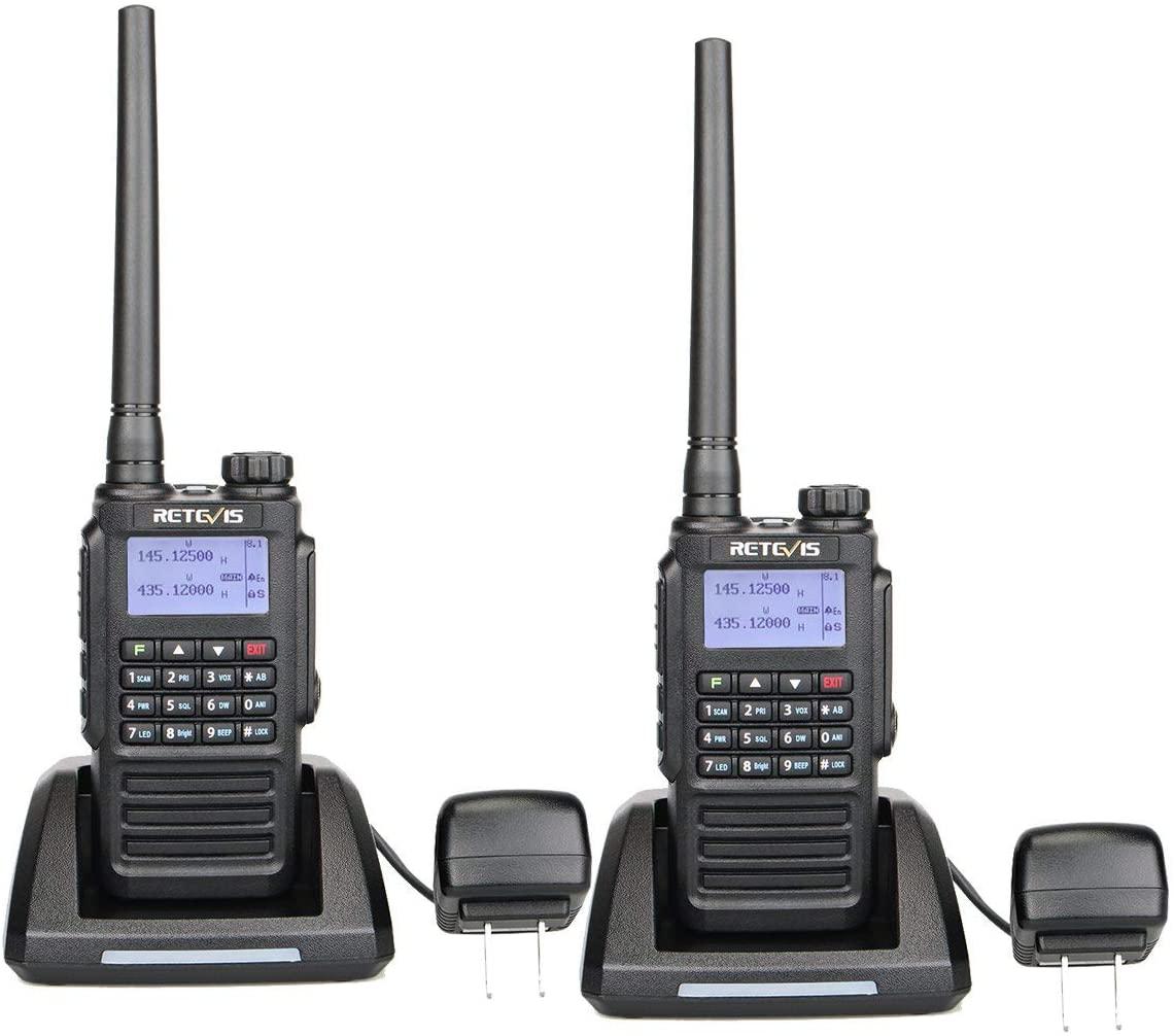 Retevis RT87 2 Way Radios Long Range IP67 Waterproof Dual Band UHF VHF FM Radio 128 Channel LCD DTMF Emergency Two-Way Radio (2 Pack)