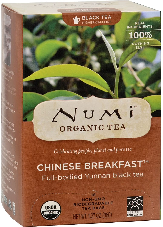Numi Tea Organic Chinese Breakfast - Full Bodied Yunnan Black Tea - 18 Bags (Pack of 2)