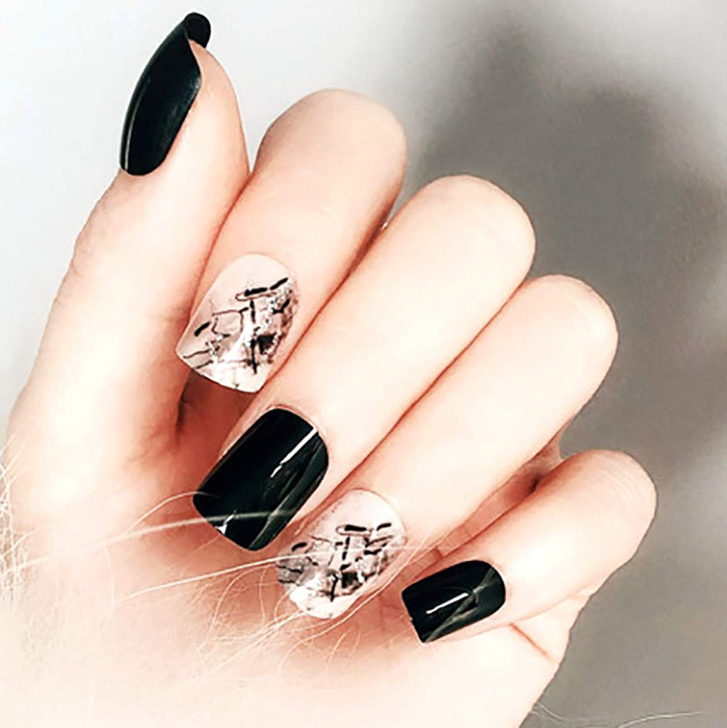 Barode False Nails Punk Black Fake Nails Simple Fashion Party Acrylic Nails for Women and Girls