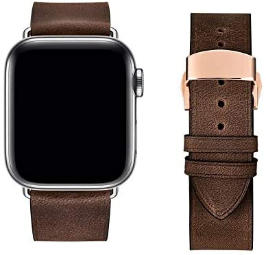 ANGELL Exquisite Compatible with Apple Watch Strap 38mm / 40mm / 42mm / 44mm Leather Strap,Emerald Green Strap Compatible with iWatch Series 5/4/3/2/1, Unisex Smart Watch Strap