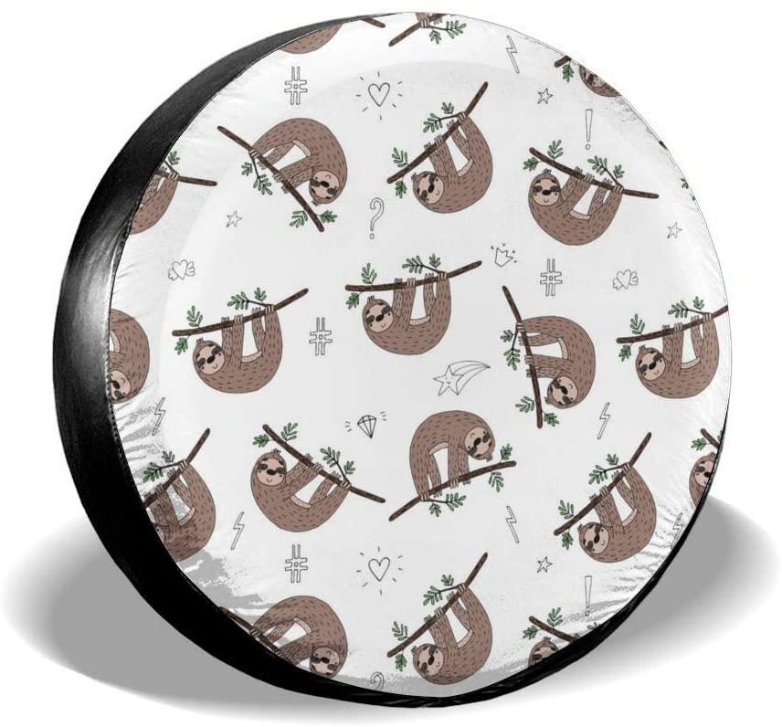 Bomini Spare Tire Covers Cute Sloth Baby Wheel Waterproof SUV Camper Travel Rv Auto Trucks Accessories Diameter 23.6