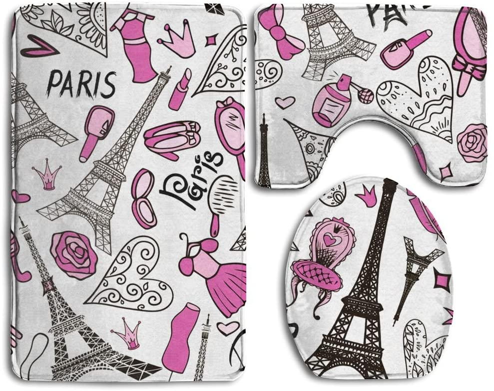 Usieis Eiffel Tower Paris Romantic Non-Slip Toilet Rug Sets 3 Pcs Bathroom Mats Rug Lid Toilet Cover