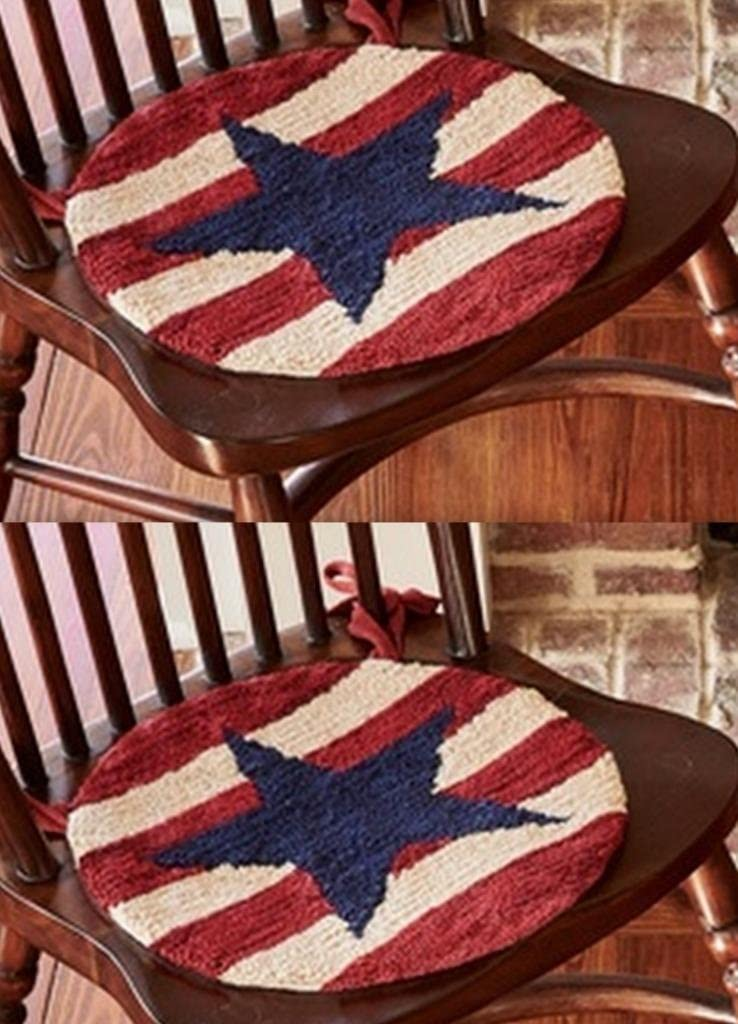 Kristin's Great Finds Park Designs Star Spangled Collection American Chair Mat, Hooked Design, Set of 2