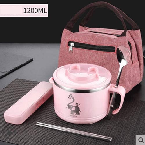 NOLOGO Desirable for Grownup and Children, Leakproof Insulation Recyclable Lunch Box, Lunch Box Collapsable Insulated Lunch Tote Bag Lunch Box Travel Picnic School (Color : Pink)