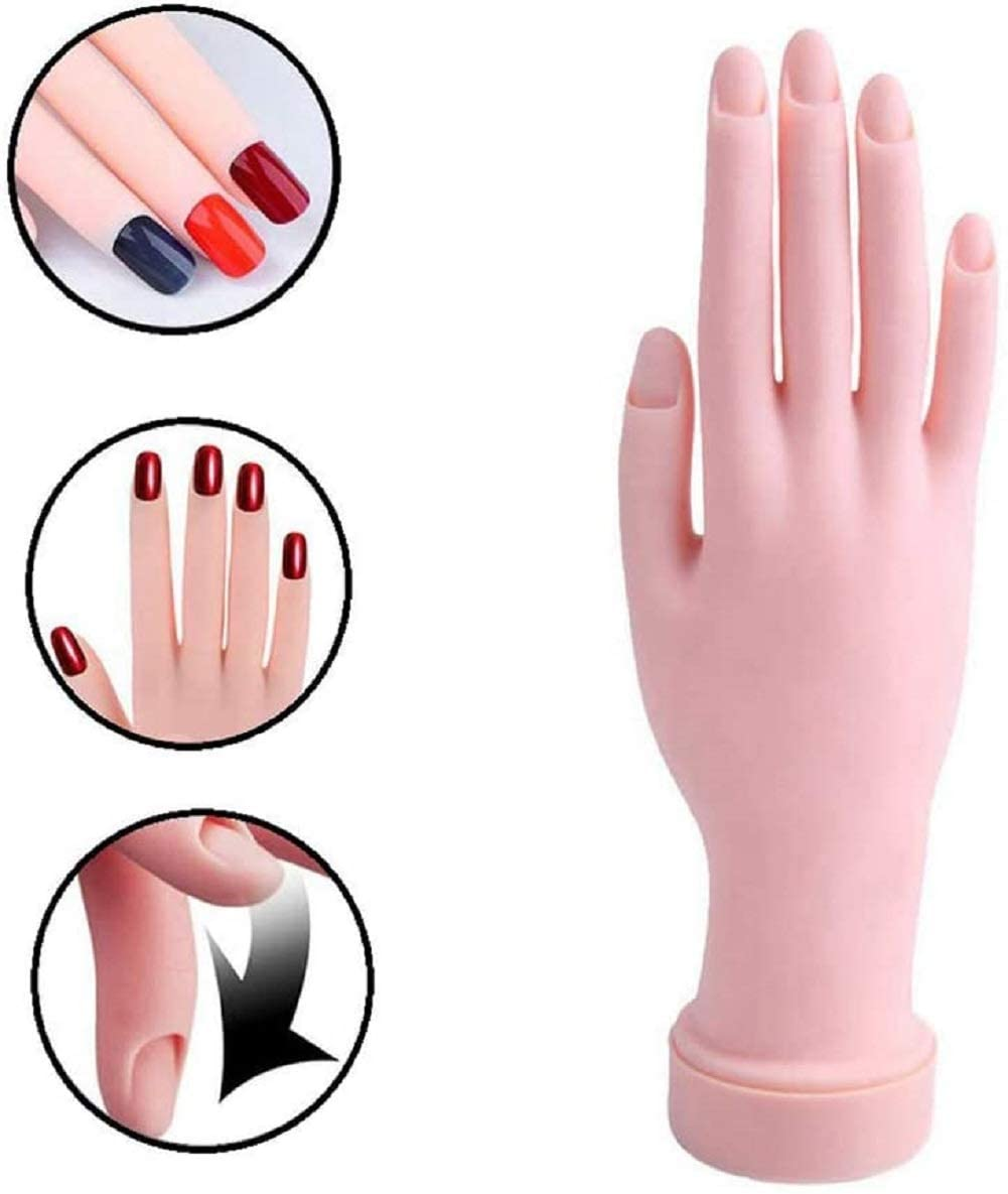 Nail Art Training Hand Flexible Movable Fake Hand Manicure Practice Tool (Pack of 1)