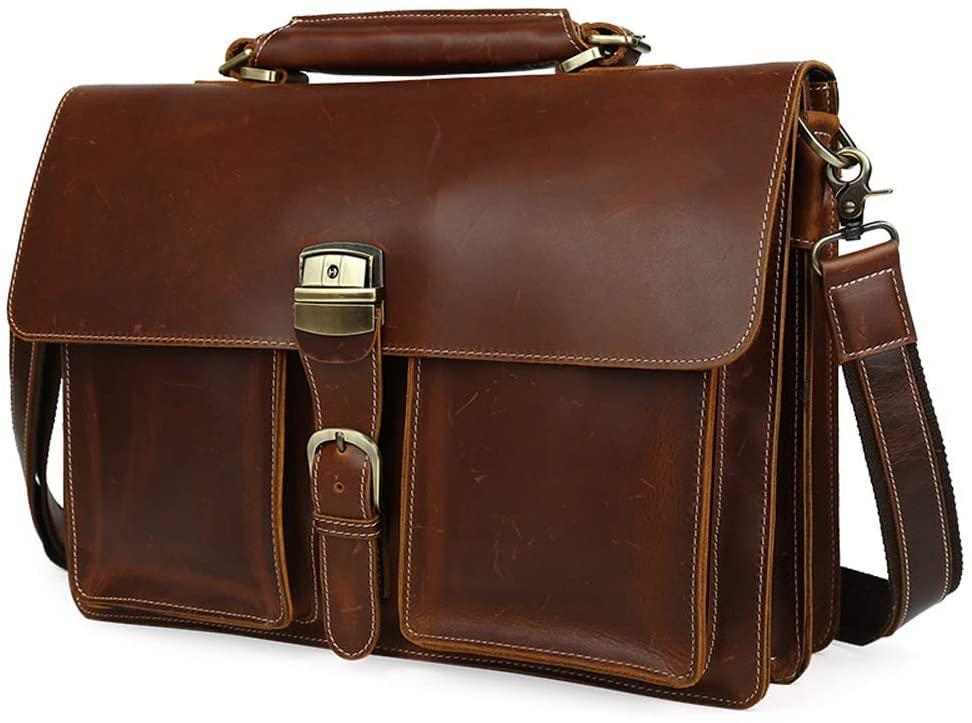 Retro 16 Inch Computer Handbag Mens Large-capacity Briefcase Head Layer Leather Multifunctional Large Capacity Laptop Bag Crossbody Messenger Office Bag