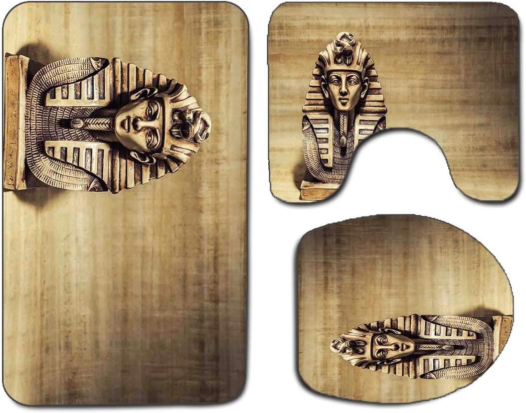 3Pcs Non-Slip Bathroom Rug Toilet Seat Lid Cover Set Egyptian Soft Skidproof Bath Mat Stone Pharaoh Tutankhamen Mask Sculpture Papyrus Background Design,Brown and Light Brown Absorbent Doormat Bedroom