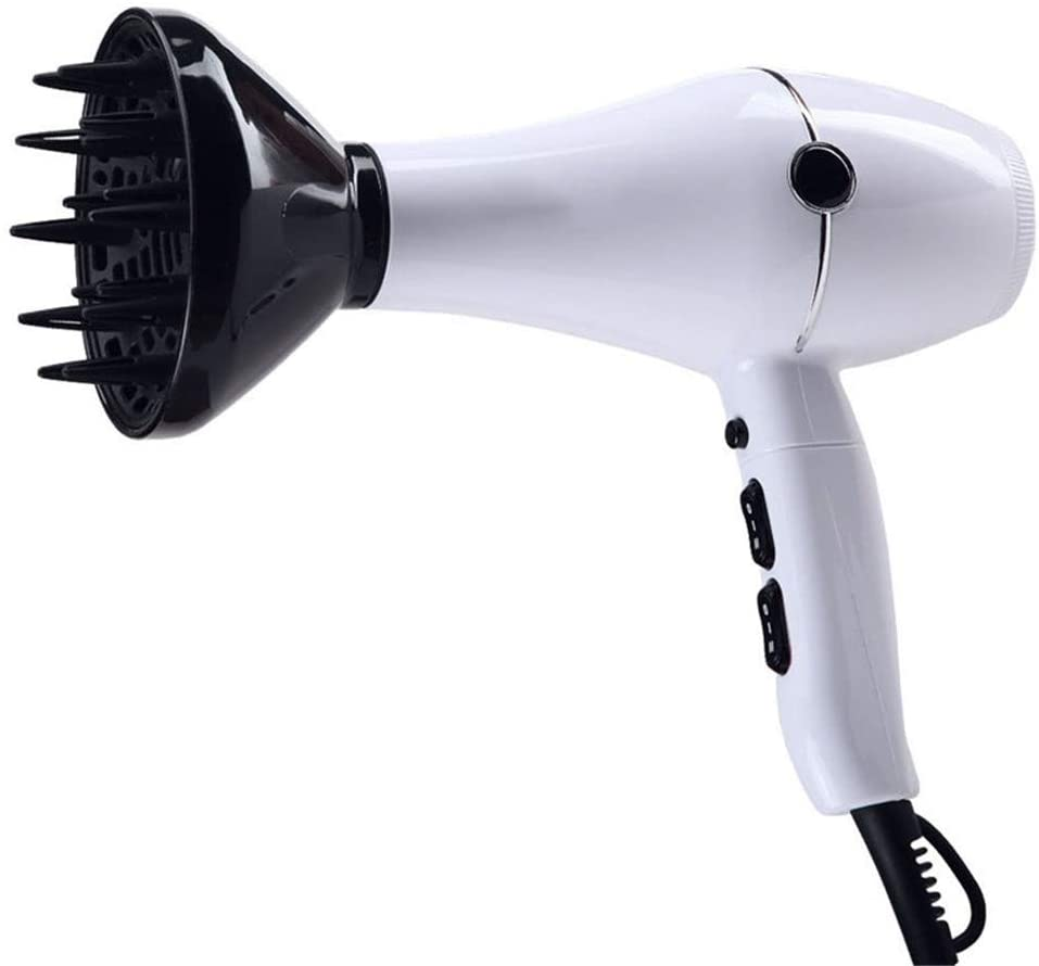 PBQWER Hair Dryer, Professional AC Motor Blower with Concentrator and Diffuser, 3 Hot 2 Speed, Light and Low Noise Blower,White