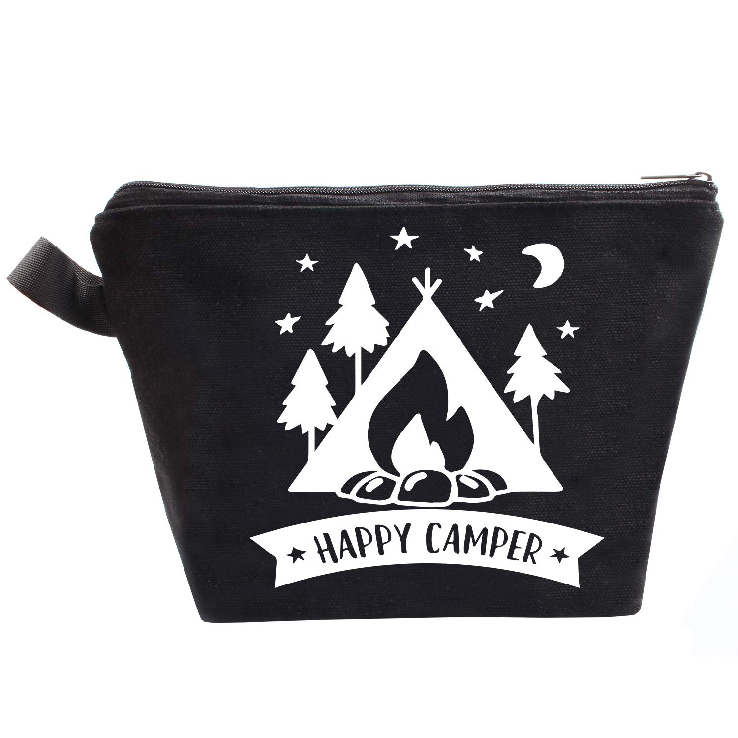 Funny Happy Camper Makeup Bag, Camping Lovers Gifts for Women, Wife, Daughter, Sister, Aunt, Best Friends
