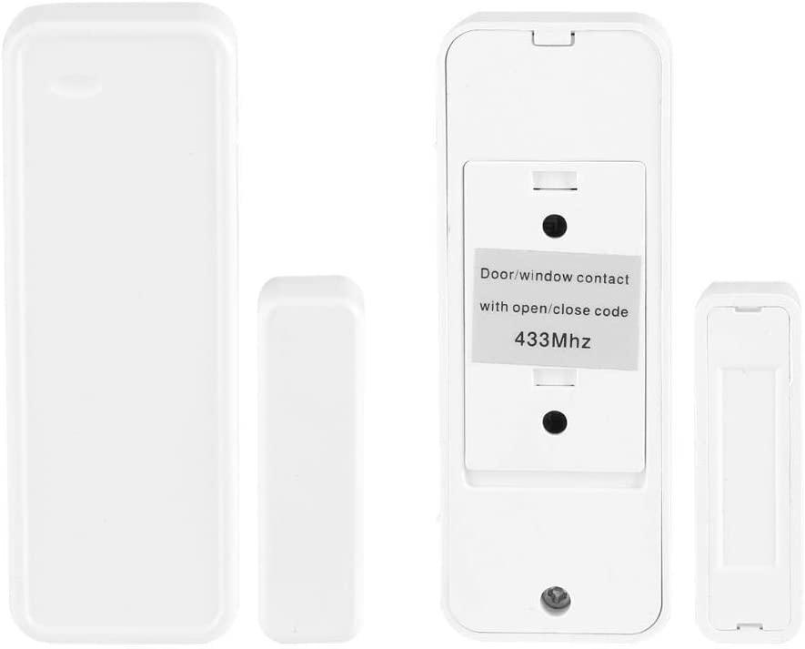 Rockyin 433MHz Door Magnetic Contact Wireless Sensor Detector Switch for Home Garage Alarm Security