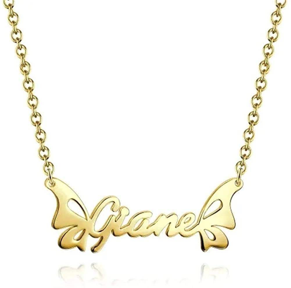 Yvettewu Name Necklace,Personalized Butterfly and Wings Name Necklace 14K Gold Plated