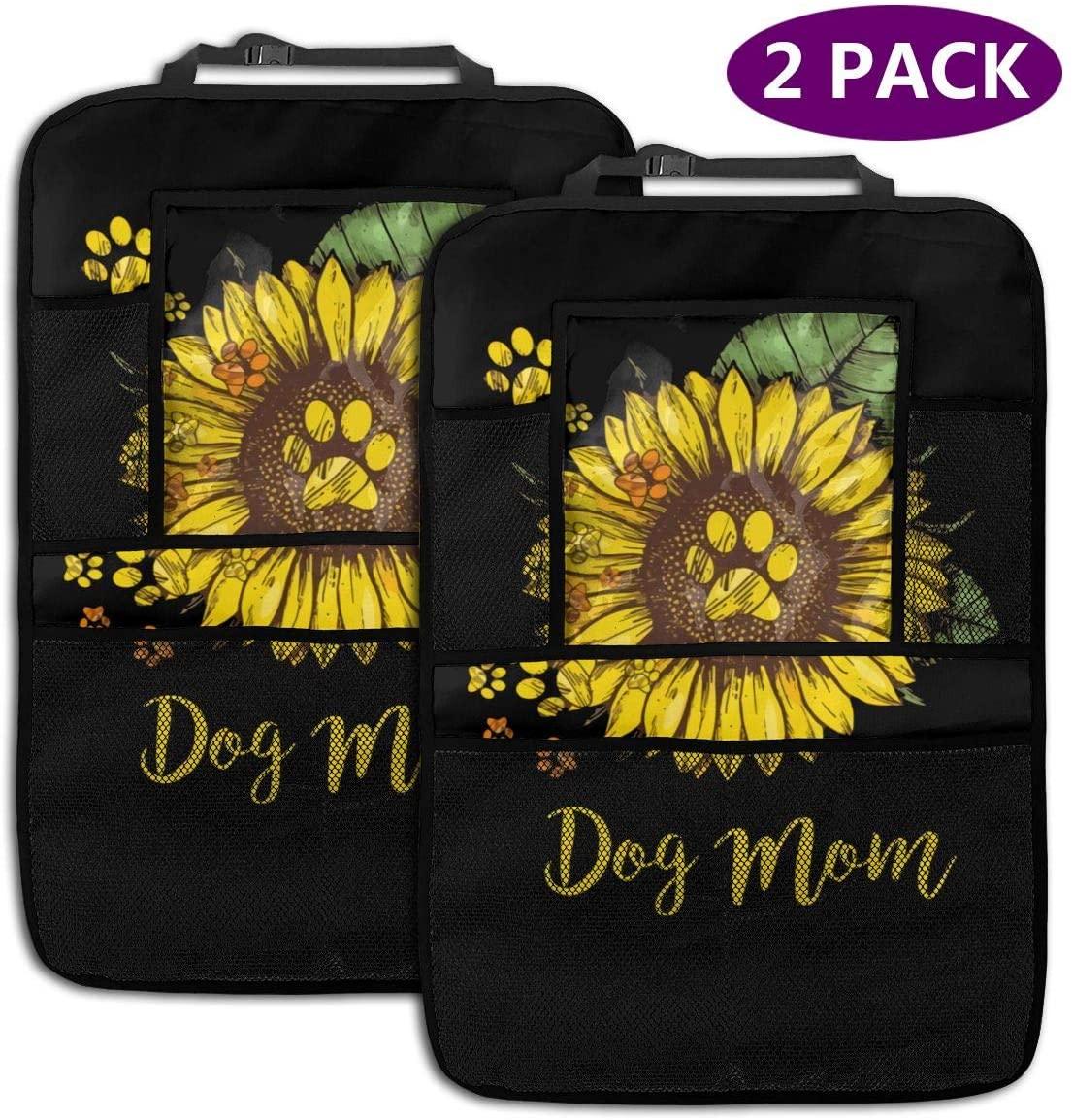 Backseat Car Organizer Dog Mom - Sunflower Seamless Vector Background 2 Pack Car Seat Organizer Waterproof Durable Multi Pocket Back Seat Storage Bag Travel Accessories