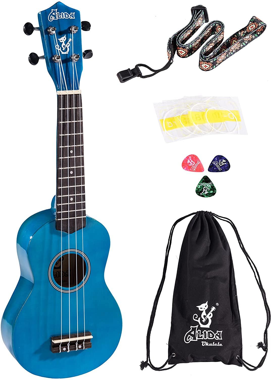 Alida Ukulele For Beginner Bundle Blue Color included Carrying Bag, Strap, Spare Strings and Picks