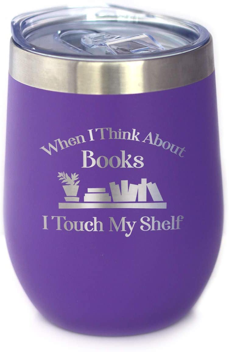 Touch My Shelf - Wine Tumbler with Sliding Lid - Stemless Stainless Steel Insulated Cup - Lovers of Reading & Books Outdoor Mug - Purple