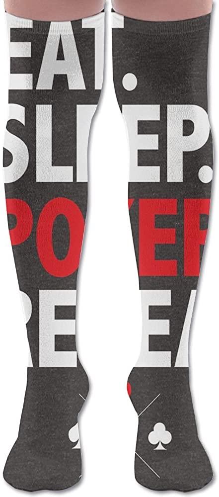 JINYOUR White Red Poker Shape Women's 60cm Knee High Socks Thigh High Stockings